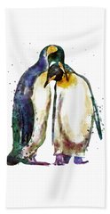 Penguin Couple Beach Sheet by Marian Voicu