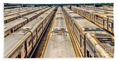 Penn Station Train Yard Beach Towel