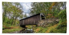 Pennsylvania Covered Bridge In Autumn Beach Towel