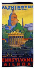 Pennsylvania Railroad, Washington, The City Beautiful - Retro Travel Poster - Vintage Poster Beach Towel