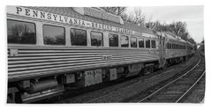 Beach Towel featuring the photograph Pennsylvania Reading Seashore Lines Train by Terry DeLuco