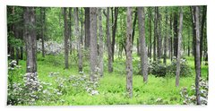 Beach Sheet featuring the photograph Pennsylvania Woodland Forest Wildflowers Landscape by Andrea Hazel Ihlefeld