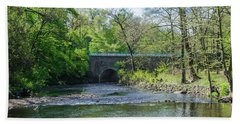 Beach Towel featuring the photograph Pennypack Creek Bridge Built 1697 by Bill Cannon