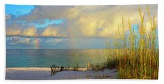 Pensacola Rainbow At Sunset Beach Sheet by Marie Hicks