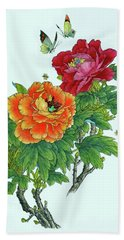 Peonies And Butterflies Beach Towel by Yufeng Wang