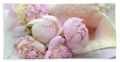 Shabby Chic Pink Peonies  - Dreamy Pink Yellow Peonies In Beach Shell - Dreamy Peony Decor Beach Towel