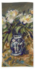 Peonies In Delft Blue Vase On Quilt Beach Towel