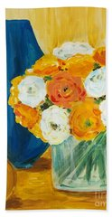 Beach Towel featuring the painting Peonies by Maria Langgle