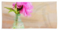 Peony And Blue Bottle Still Life Beach Towel
