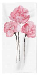Peony Bouquet Anniversary Woman Art Print, Pink Paper Flower Watercolor Painting Beach Towel