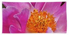 Pink Flower Peony Garden Wall Art Beach Sheet