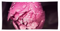 Peony In The Rain Beach Towel