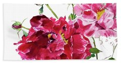 Beach Towel featuring the painting Peony by Patti Ferron