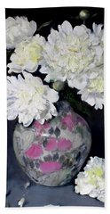 Peony Splendor In Floral Vase Beach Sheet