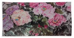 Beach Towel featuring the painting Peony20170126_2 by Dongling Sun
