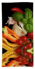 Beach Towel featuring the photograph Peppers Basil Tomatoes Garlic by David French