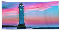 Beach Towel featuring the photograph Perch Rock Sunset by Brian Tarr