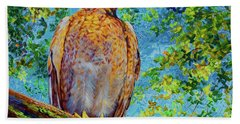 Beach Sheet featuring the painting Perched Hawk by AnnaJo Vahle