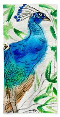 Perched Peacock I Beach Towel