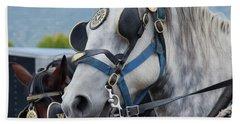 Percheron Horses Beach Sheet by Theresa Tahara