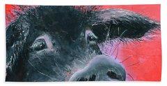 Percival The Black Pig Beach Sheet by Jan Matson