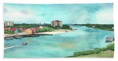 Beach Towel featuring the painting Perdido Key River by Betsy Hackett