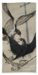 Peregrine Falcon And Kestrel Beach Towel