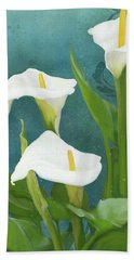Beach Sheet featuring the painting Perfection - Calla Lily Trio by Audrey Jeanne Roberts