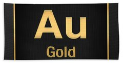 Periodic Table - Gold On Black Beach Towel