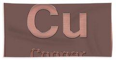 Periodic Table Of Elements - Copper - Cu - Copper On Copper Beach Towel