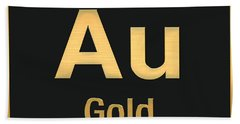 Periodic Table Of Elements - Gold - Au - Gold On Black Beach Towel