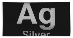 Periodic Table Of Elements - Silver - Ag - Silver On Black Beach Towel