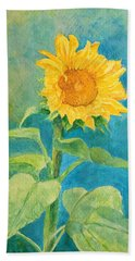 Perky Sunflower Colorful Painting Beach Towel by Elizabeth Sawyer