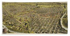 Perspective Map Of Fort Worth, Tex. 1891 Beach Towel