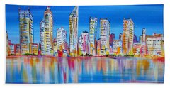 Perth Skyscrapers Skyline On The Swan River Beach Towel