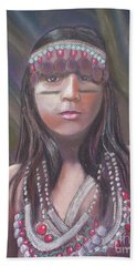 Beach Towel featuring the pastel Peruvian Girl by Julie Brugh Riffey