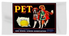 Pet Saint Bernard 1920s California Sunkist Lemons Beach Towel