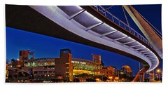 Petco Park And The Harbor Drive Pedestrian Bridge In Downtown San Diego  Beach Towel