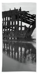 Peter Iredale Shipwreck In Black And White Beach Towel