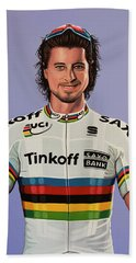 Peter Sagan Painting Beach Towel by Paul Meijering