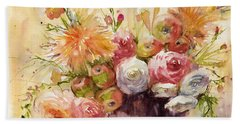 Petite Apples In Floral Beach Sheet by Judith Levins