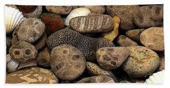 Beach Towel featuring the photograph Petoskey Stones With Shells L by Michelle Calkins
