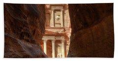 Petra Treasury Revealed Beach Towel by Nigel Fletcher-Jones