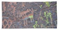 Petroglyph Wolf Attack Beach Towel