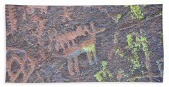 Petroglyph Wolf Attack Beach Towel