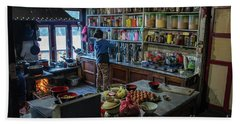 Beach Towel featuring the photograph Phakding Teahouse Kitchen Morning by Mike Reid
