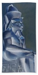 Beach Towel featuring the mixed media Pharaoh In Blue by Elizabeth Lock