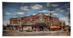 Beach Towel featuring the photograph Pharmacy - The Corner Drugstore 1910 by Mike Savad