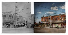 Beach Towel featuring the photograph Pharmacy - The Corner Drugstore 1910 - Side By Side by Mike Savad