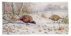 Pheasant And Partridge Eating  Beach Towel by Carl Donner